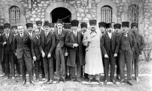 Mustafa Kemal Atatürk with the Turkish diplomatic corps in Ankara, 1921
