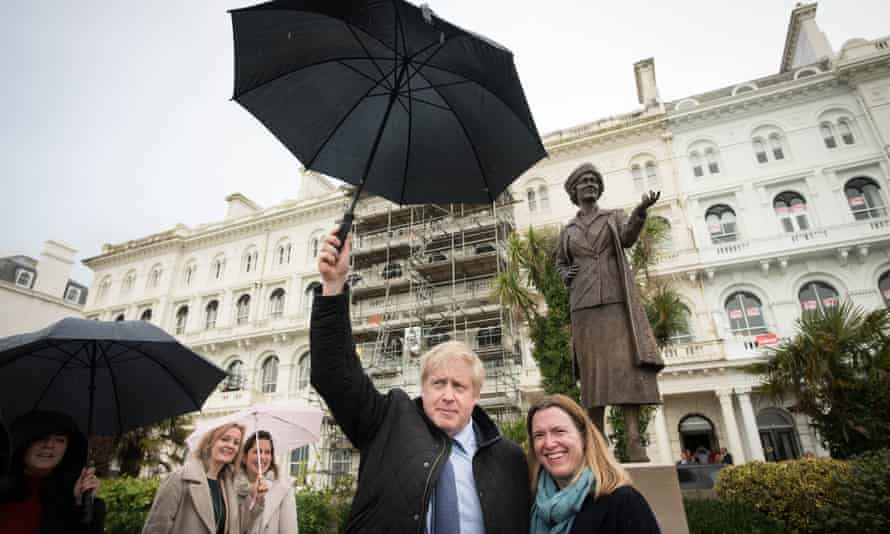 Boris Johnson was campaigning in Devon and visited the statue with local Conservative candidate Rebecca Smith