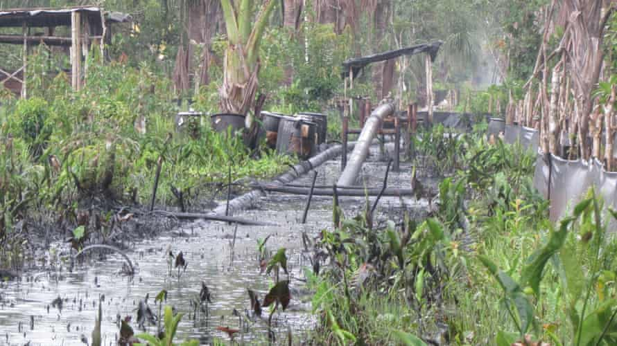 The pipeline running from the centre of Pluspetrol's operations in the Pacaya Samiria National Reserve in Peru's Amazon.