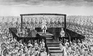 The execution of Laurence Shirley Ferrers at Tyburn in 1760.