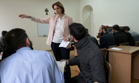 Inga Harutyunyan leads a psychology class in the town of Vagharshapat