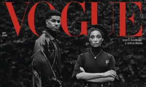 The September 2020 Vogue issue devoted to activism, which featured the footballer Marcus Rashford with the model Adwoa Aboah – wearing a beret.