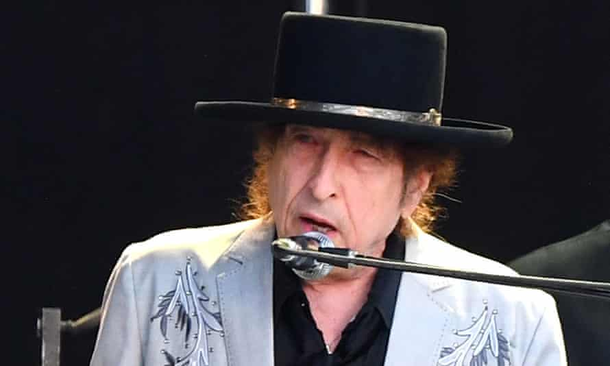 Bob Dylan performing in Hyde Park, London, in 2019.