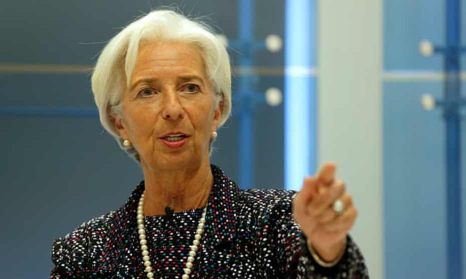 IMF chief Christine Lagarde speaks at the American Enterprise Institute in Washington.