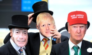Racegoers wearing masks of Nigel Farage, Boris Johnson and Donald Trump at Royal Ascot, June 2019