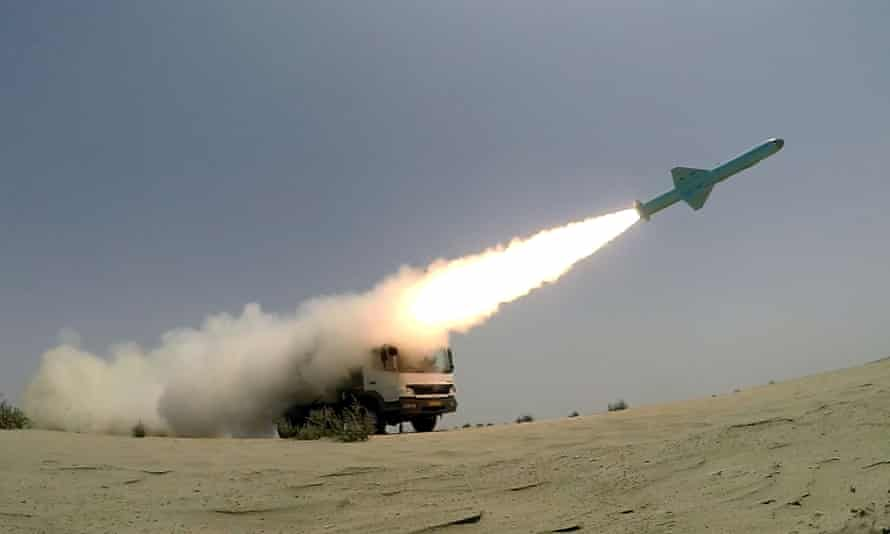 An Iranian-made missile is fired during war games in June.