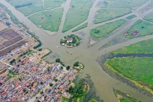 Jiangsu, China An aerial view of the Jiulongkou wetland park