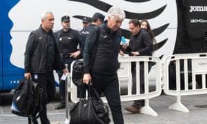 'I was afraid.' Atalanta's coach Gian Piero Gasperini arrives at the Westin hotel in Valencia.