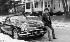 A 1978 photo of Bruce Springsteen with his Corvette in Haddonfield, New Jersey