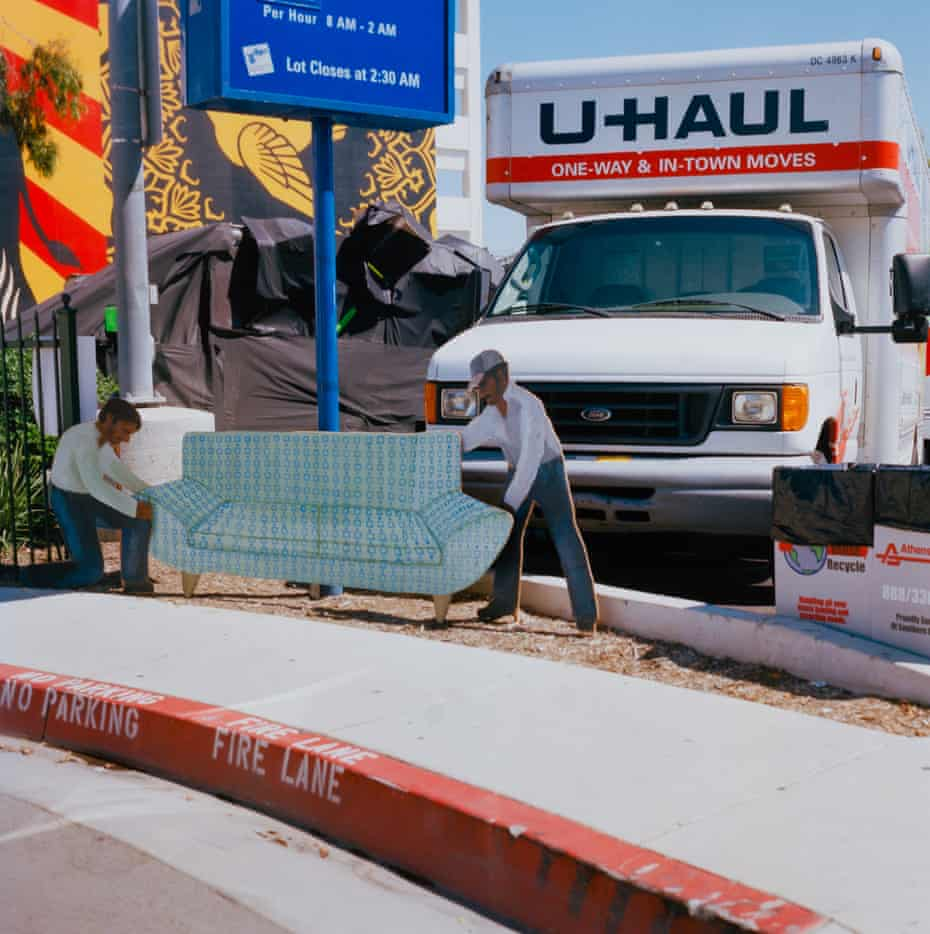 In Movers, El Tovar Place, West Hollywood, two cutouts appear to be shifting a sofa towards a real removals truck.