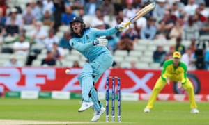 Jason Roy is hit by a Mitchell Starc delivery.