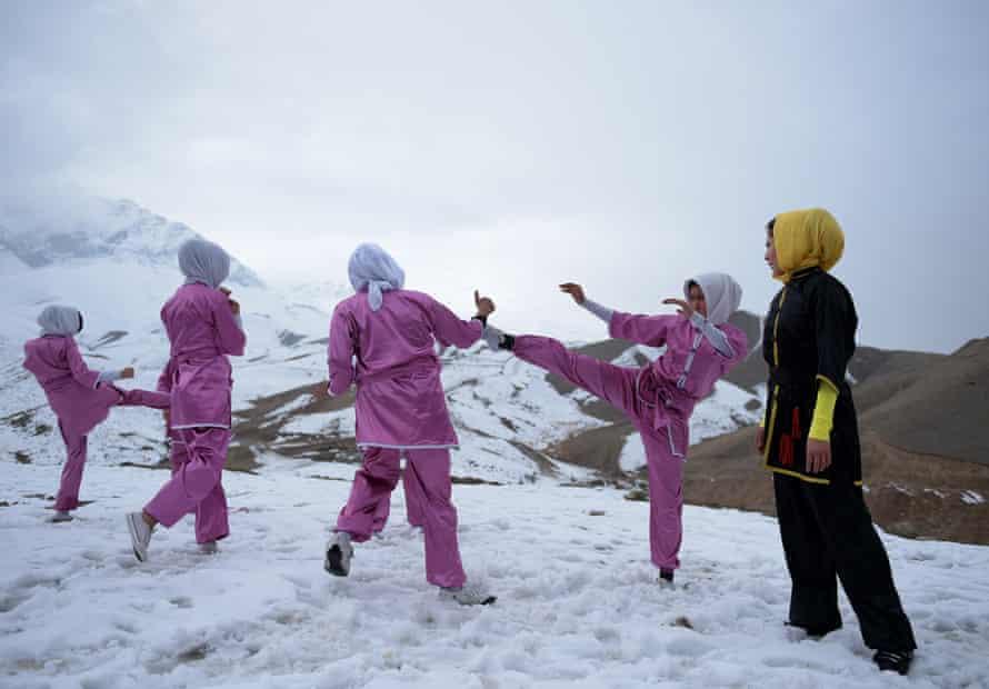 A women's martial arts group on Shahrak Haji Nabi hilltop near Kabul.