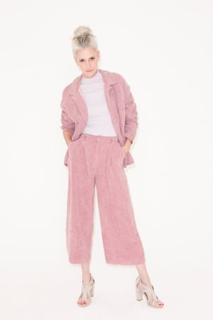 pale purple top Monki, corduroy pale pink jacket and matching culotte trousers Native Youth, beige high heeled mules Reiss