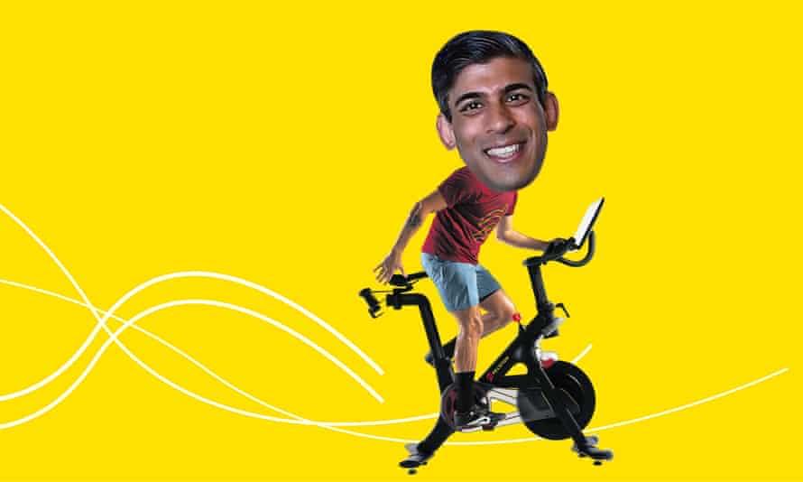 Rishi Sunak on exercise bike collage image