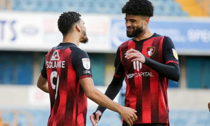Dominic Solanke celebrates with Bournemouth teammate Philip Billing, who also got on the scoresheet.