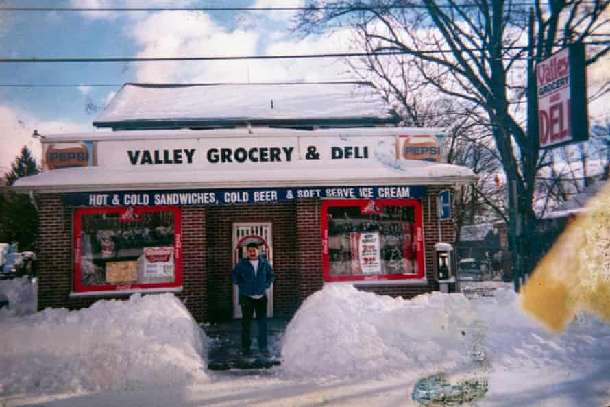 Portrait of Medel Huesca, center, Mexican migrant who died from Covid-19 in New York, in front of a grocery store in Spring Valley.