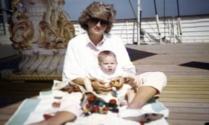 Princess Diana with Prince Harry on the royal yacht, Britannia, in a photograph taken by Prince William.