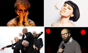 Edinburgh acts, clockwise from top left: James Thierrée, Jess Mabel Jones in Torch, Daniel Kitson and Derevo.
