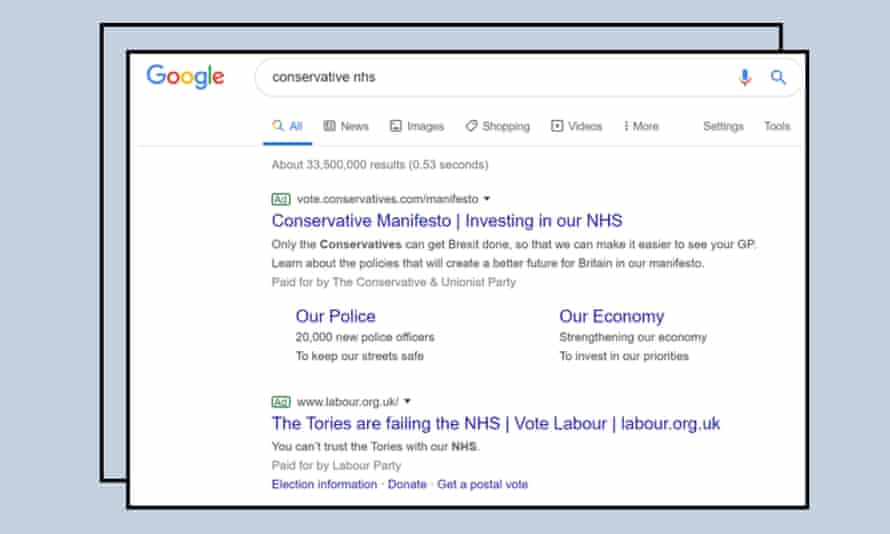 Google ads on the NHS election 2019