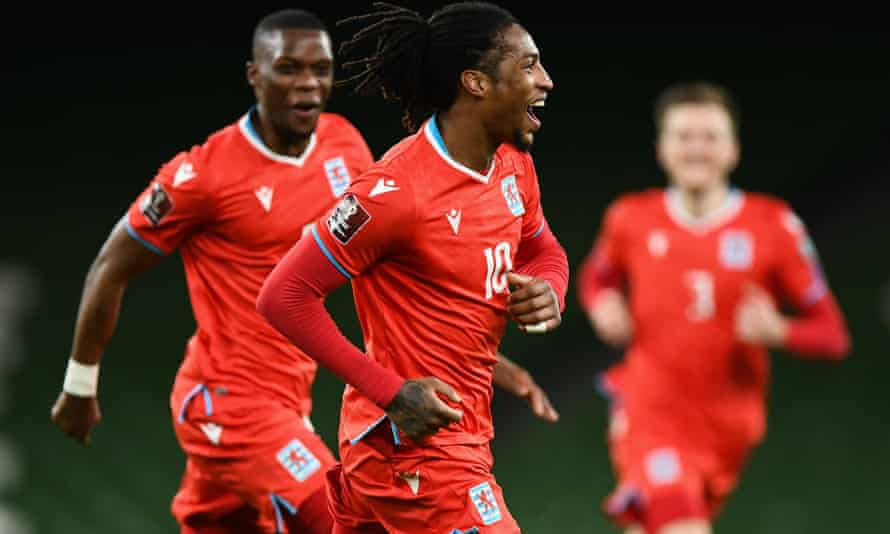 Luxembourg's Gerson Rodrigues celebrates a famous goal against Ireland.