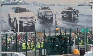 Jaguar Land Rover staff at the Halewood site on Merseyside.