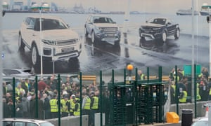 Workers at the Jaguar Land Rover site in Halewood, Knowsley, Merseyside