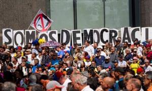 People protest Nicolás Maduro's government in Caracas, Venezuela on 11 January.