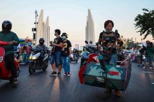 Bangkok, Thailand. A protester dressed as a tank at a pro-democracy rally