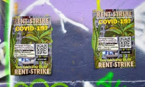 Posters for a rent strike during the coronavirus lockdown, Bristol, 31 March 2020