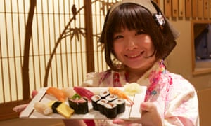 Yuki Chizui serves sushi at Nadeshiko Sushi in Tokyo