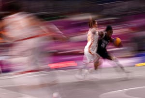 Mamignan Toure of France in action during the 3x3 basketball pool match against China.