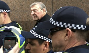 Cardinal George Pell leaves Melbourne magistrates court on Wednesday.