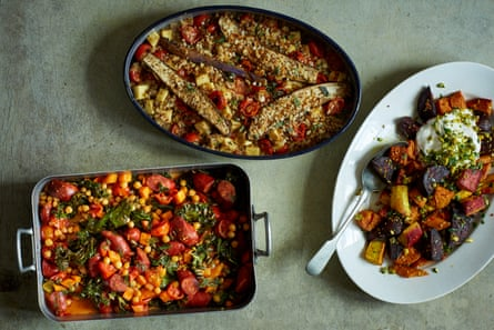 Serve all at once for a feast, or as separate meals: Nik Sharma's three easy roasts.