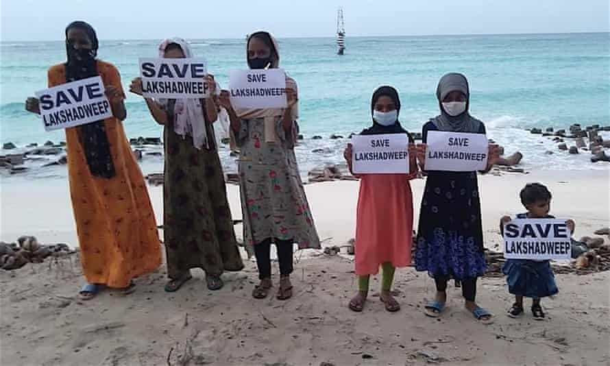 Local people protest against the new laws they see as threatening Lakshadweep, May 2020.