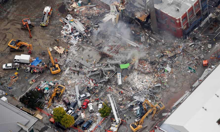 An aerial view of emergency services people working at the ruined CTV building in central in Christchurch, New Zealand in 2011.