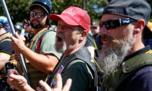Supporters of the far-right group Patriot Prayer in Portland.