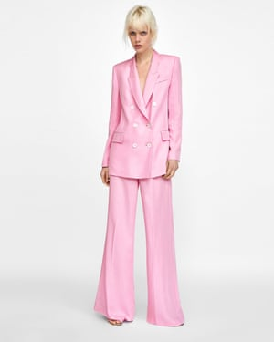 Pink wide legged trouser suit from Zara