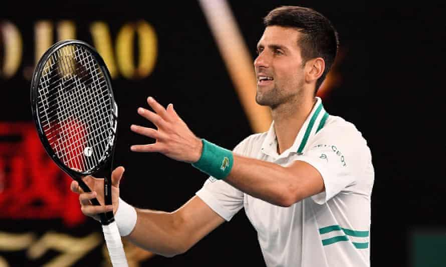 Novak Djokovic celebrates after defeating Aslan Karatsev in their Australian Open semi-final.