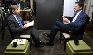 ABC News correspondent George Stephanopoulos, left, with former FBI director James Comey