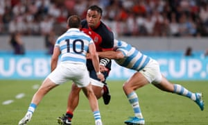 Billy Vunipola launches an attack during England's win against Argentina.