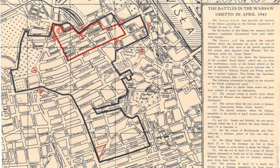 A map showing battles during the Warsaw ghetto Uprising in April 1943.