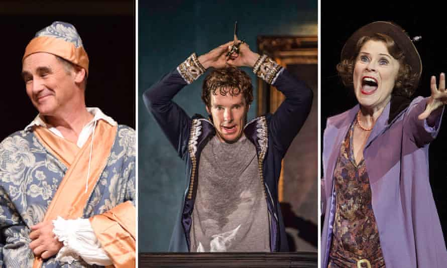 Mark Rylance in Farinelli and the King, Benedict Cumberbatch as Hamlet and Imelda Staunton in Gypsy