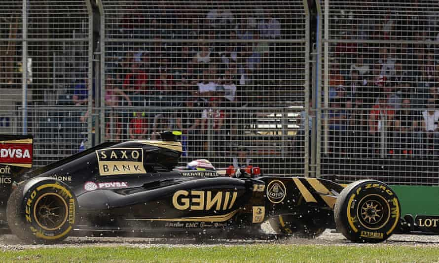 Pastor Maldonado steers his Lotus on to the gravel during a practice session for the 2015 Australian Grand Prix.