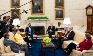 President Joe Biden meets with bipartisan group on Monday to disucss the American Jobs Plan.