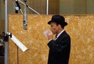 Sinatra at a Capitol Records recording session in the then-new Capitol Studios on Vine Street, Hollywood. 1957.