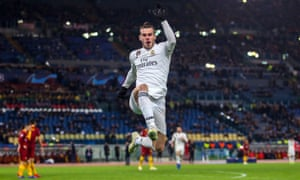 Gareth Bale celebrates after opening the scoring against Roma.