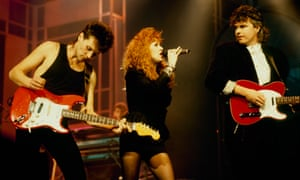 Dean Howard, Carol Decker and Ronnie Rogers on stage at the Montreux rock festival, 1988.