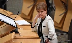Nicola Sturgeon in the Scottish parliament yesterday.