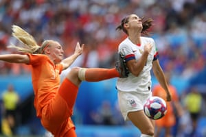 Alex Morgan of the USA is fouled by Stefanie Van der Gragt of the Netherlands leading to a penalty during the 2019 FIFA Women's World Cup Final at Stade de Lyon.