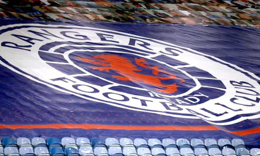 A banner covering empty seats at Ibrox.